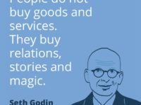 Seth Godin - People do not buy goods and services. They buy relations, stories and magic.