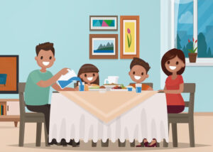 SBM Water - Family at table