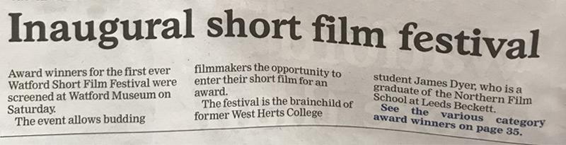 Watford Observer Inaugural Short Film Festival